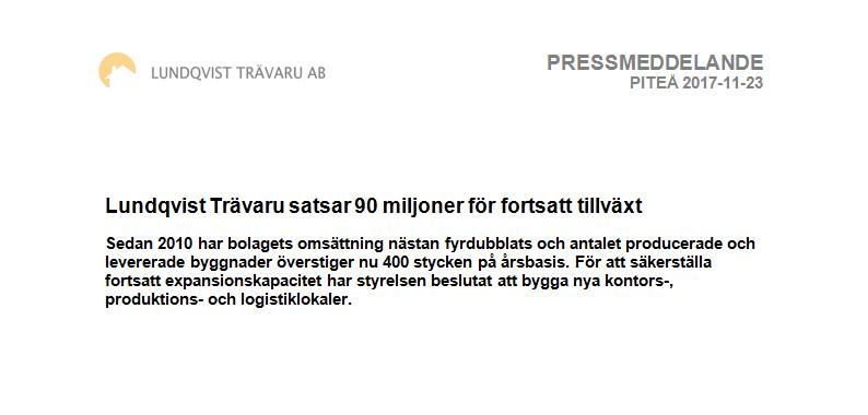 Pressmeddelande - Lundqvist Trävaru AB investerar 90 miljoner